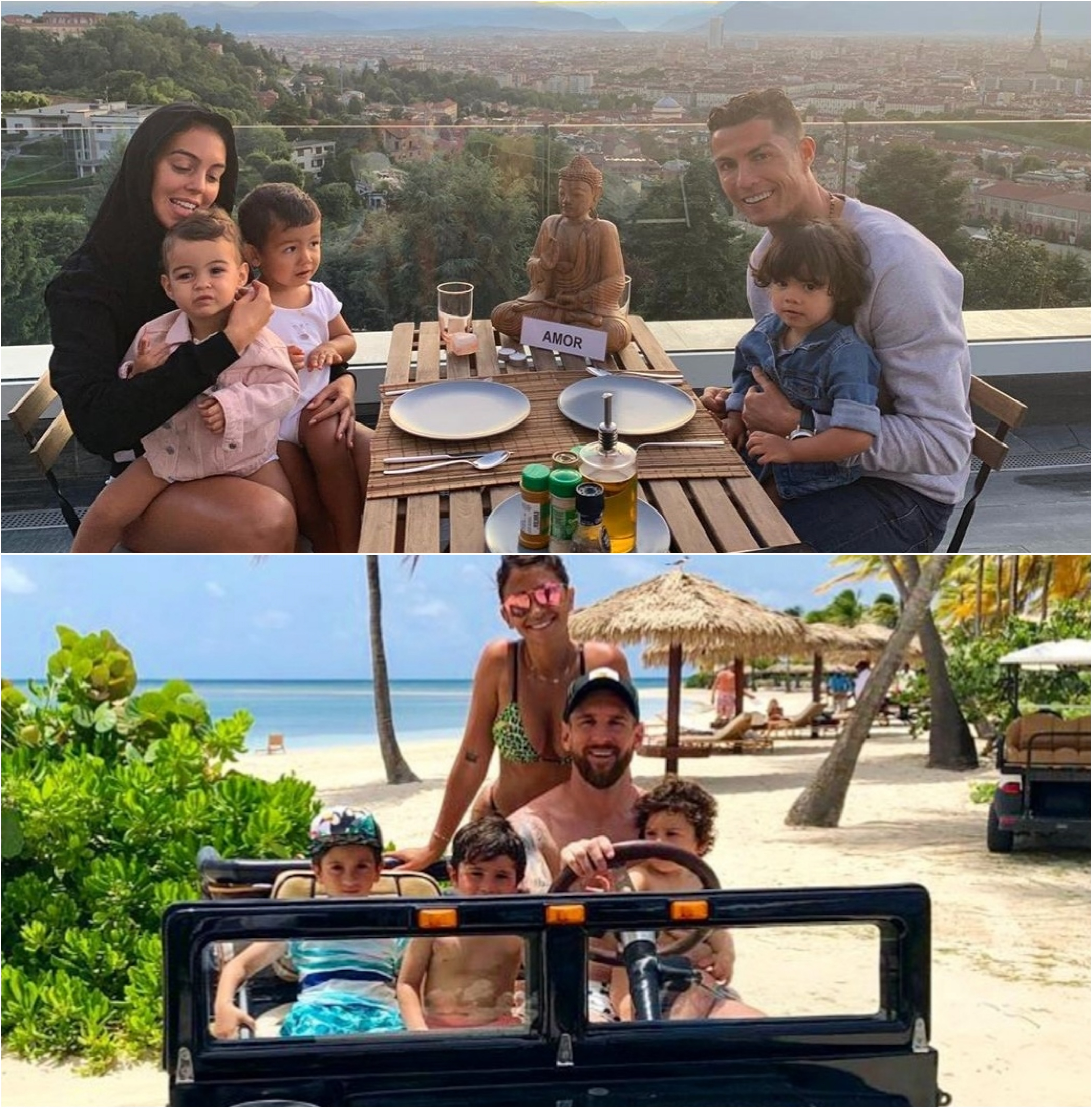 Lionel Messi and Cristiano Ronaldo enjoy quality time with their families