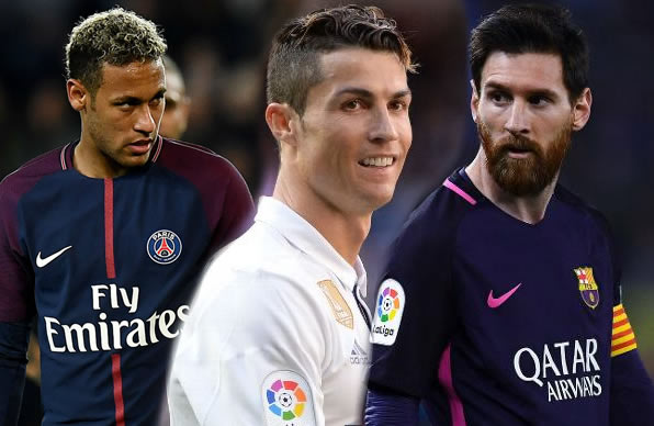 Lionel Messi, Neymar and Cristiano Ronaldo,